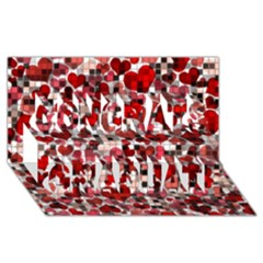 Hearts And Checks, Red Congrats Graduate 3d Greeting Card (8x4)  by MoreColorsinLife