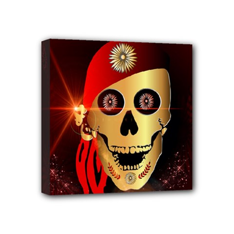 Funny, Happy Skull Mini Canvas 4  X 4  by FantasyWorld7