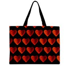 Heart Pattern Orange Zipper Tiny Tote Bags