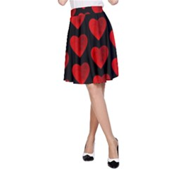 Heart Pattern Red A-Line Skirts