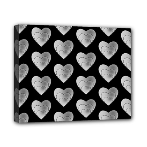 Heart Pattern Silver Canvas 10  X 8  by MoreColorsinLife