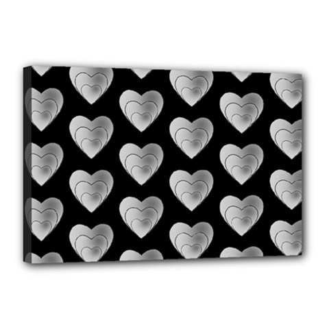 Heart Pattern Silver Canvas 18  x 12  by MoreColorsinLife