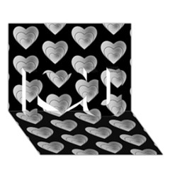Heart Pattern Silver I Love You 3d Greeting Card (7x5)  by MoreColorsinLife