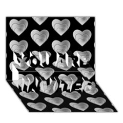 Heart Pattern Silver YOU ARE INVITED 3D Greeting Card (7x5)  by MoreColorsinLife