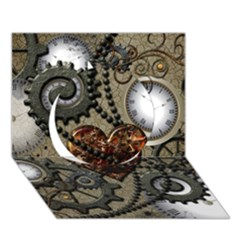 Steampunk With Clocks And Gears And Heart Circle 3d Greeting Card (7x5)  by FantasyWorld7
