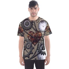 Steampunk With Clocks And Gears And Heart Men s Sport Mesh Tees by FantasyWorld7