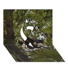 Bald Eagle Ribbon 3d Greeting Card (7x5)  by timelessartoncanvas