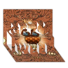 Steampunk, Funny Owl With Clicks And Gears Get Well 3d Greeting Card (7x5)  by FantasyWorld7