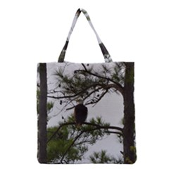 Bald Eagle 3 Grocery Tote Bags by timelessartoncanvas