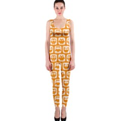 Yellow And White Owl Pattern Onepiece Catsuits by creativemom