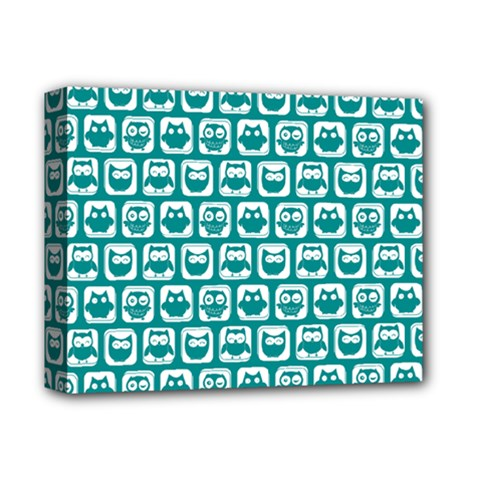 Teal And White Owl Pattern Deluxe Canvas 14  x 11  by creativemom
