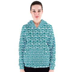 Teal And White Owl Pattern Women s Zipper Hoodies by creativemom