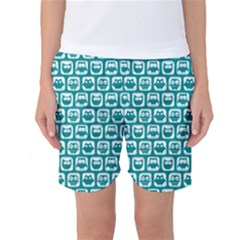 Teal And White Owl Pattern Women s Basketball Shorts by creativemom