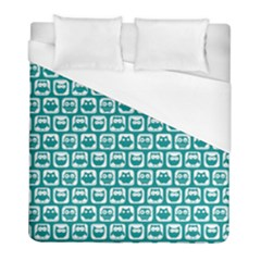 Teal And White Owl Pattern Duvet Cover Single Side (twin Size) by creativemom