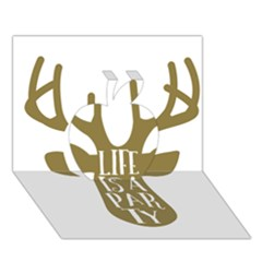 Life Is A Party Buck Deer Apple 3d Greeting Card (7x5)