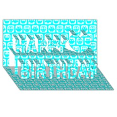 Aqua Turquoise And White Owl Pattern Happy Birthday 3D Greeting Card (8x4)  by creativemom