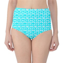 Aqua Turquoise And White Owl Pattern High Waist Bikini Bottoms