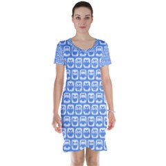 Blue And White Owl Pattern Short Sleeve Nightdresses by creativemom
