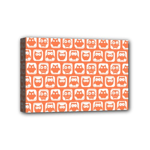 Coral And White Owl Pattern Mini Canvas 6  X 4  by creativemom