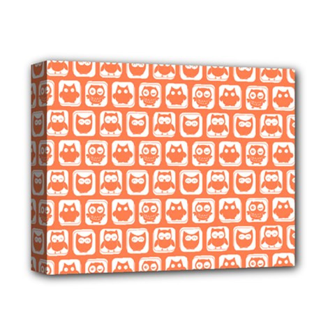 Coral And White Owl Pattern Deluxe Canvas 14  x 11  by creativemom