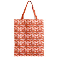 Coral And White Owl Pattern Zipper Classic Tote Bags by creativemom