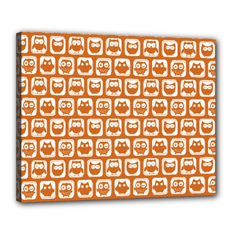 Orange And White Owl Pattern Canvas 20  X 16  by creativemom