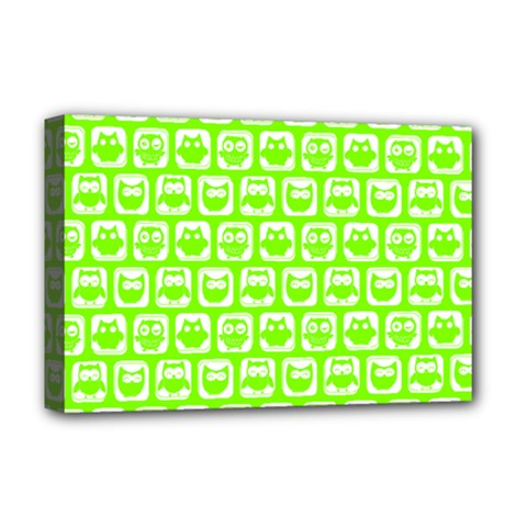 Lime Green And White Owl Pattern Deluxe Canvas 18  X 12   by creativemom