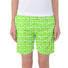 Lime Green And White Owl Pattern Women s Basketball Shorts by creativemom