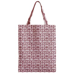 Light Pink And White Owl Pattern Zipper Classic Tote Bags by creativemom