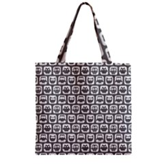 Gray And White Owl Pattern Zipper Grocery Tote Bags by creativemom