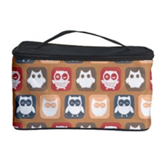 Colorful Whimsical Owl Pattern Cosmetic Storage Cases by creativemom