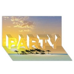 Beautiful Island In The Sunset PARTY 3D Greeting Card (8x4)