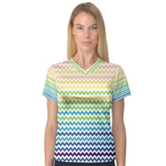 Pastel Gradient Rainbow Chevron Women s V-Neck Sport Mesh Tee by CraftyLittleNodes