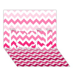 Pink Gradient Chevron Large I Love You 3d Greeting Card (7x5)  by CraftyLittleNodes