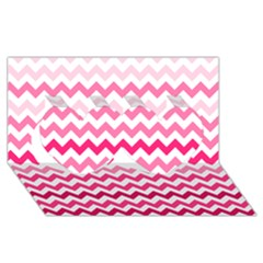 Pink Gradient Chevron Large Twin Hearts 3d Greeting Card (8x4)  by CraftyLittleNodes
