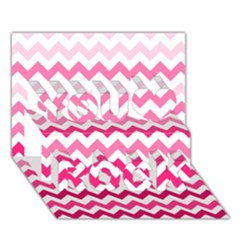 Pink Gradient Chevron Large You Rock 3D Greeting Card (7x5)