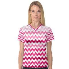 Pink Gradient Chevron Large Women s V-Neck Sport Mesh Tee by CraftyLittleNodes