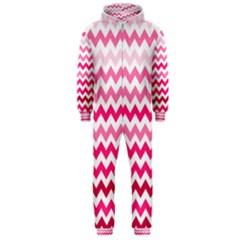 Pink Gradient Chevron Large Hooded Jumpsuit (Men)