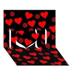 Flowers And Hearts I Love You 3D Greeting Card (7x5)  by MoreColorsinLife
