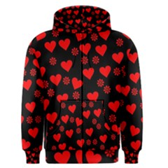 Flowers And Hearts Men s Zipper Hoodies by MoreColorsinLife