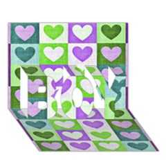 Hearts Plaid Purple Boy 3d Greeting Card (7x5) by MoreColorsinLife