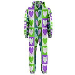 Hearts Plaid Purple Hooded Jumpsuit (Men)
