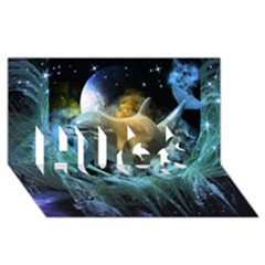 Funny Dolphin In The Universe HUGS 3D Greeting Card (8x4)  by FantasyWorld7