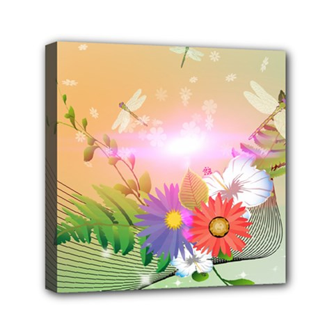 Wonderful Colorful Flowers With Dragonflies Mini Canvas 6  x 6  by FantasyWorld7