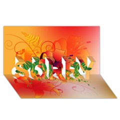Awesome Red Flowers With Leaves Sorry 3d Greeting Card (8x4)
