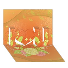 Beautiful Flowers In Soft Colors I Love You 3d Greeting Card (7x5)