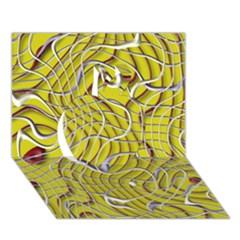 Ribbon Chaos 2 Yellow Apple 3d Greeting Card (7x5)
