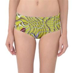 Ribbon Chaos 2 Yellow Mid-Waist Bikini Bottoms