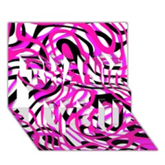 Ribbon Chaos Pink Thank You 3d Greeting Card (7x5)  by ImpressiveMoments