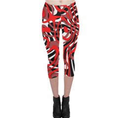 Ribbon Chaos Red Capri Leggings